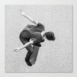Skateboarder - Kickflip from above Canvas Print
