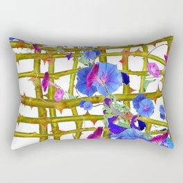 BLUE MORNING GLORIES THORN LATTICE DESIGN Rectangular Pillow