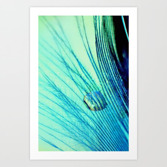 Feather And Water Blue Art Print