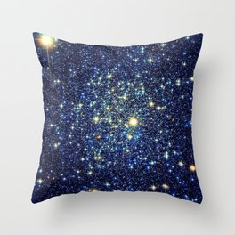 galaxY Stars : Midnight Blue & Gold Throw Pillow