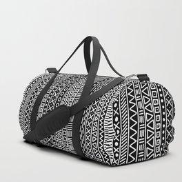 Black white hand painted geometrical aztec pattern Duffle Bag