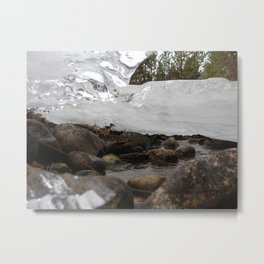 #406 BR CK UNDER ICE FORMATIONS, DAISY POND CRK BEFORE 1931 WOOD, ROCKS, ICE  Metal Print