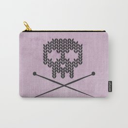 Knitted Skull (Black on Pink) Carry-All Pouch