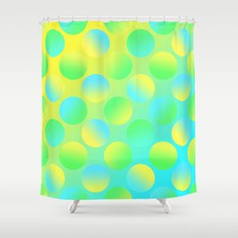 Gradient Polka Dots (Yellow and Green and Blue)! Shower Curtain