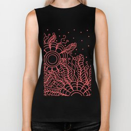 Doodle Art Three Flowers Vines – White and Red Biker Tank