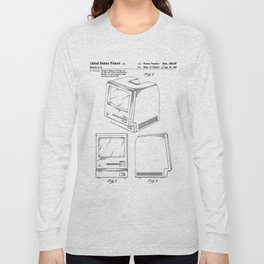 Apple Macintosh Patent - Apple Art - Black And White Long Sleeve T-shirt