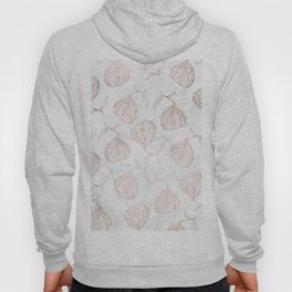 Modern girly rose gold hand drawn floral white marble pattern Hoody