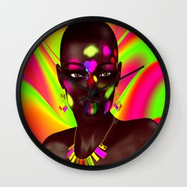 African Woman and Colorful Abstract Wall Clock
