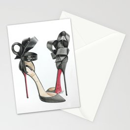 Red Sole Black Bow D'Orsay Pump Watercolor Stationery Cards