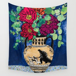 Bright Peony Rose Bouquet in Grecian Urn with Godzilla Walking French Bulldogs Painting Wall Tapestry