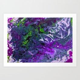 Purple green fluid abstract art Art Print