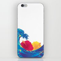 hokusai iPhone & iPod Skins featuring Hokusai Rainbow & Hibiscus_YR by FACTORIE