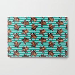 turtles in stripes Metal Print