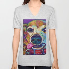 Derpy Chiweenie on Violet Unisex V-Neck