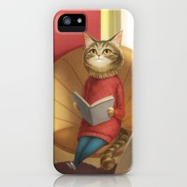 A cat reading a book iPhone Case