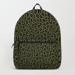 CAMO LEOPARD PRINT – Olive Green | Collection : Punk Rock Animal Prints. Backpack