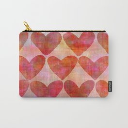 red Hearts mixed media pattern Carry-All Pouch