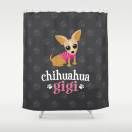Chihuahua Gigi Great Grandma Cute Dog Lover Gray Shower Curtain