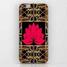 Art Deco Retro Lotus (amaranth-black) iPhone & iPod Skin