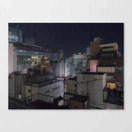 City urban downtown night Canvas Print