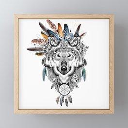 Bohemian Wolf with Feather Headdress Framed Mini Art Print