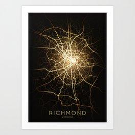 richmond Virginia usa city night light map Art Print