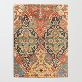 Geometric Leaves VIII // 18th Century Distressed Red Blue Green Colorful Ornate Accent Rug Pattern Poster