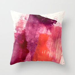 Blushing: a vibrant, minimal abstract in purple, pink, and red Throw Pillow