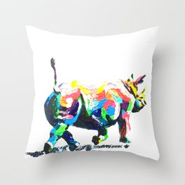 Rainbow Rhino Throw Pillow