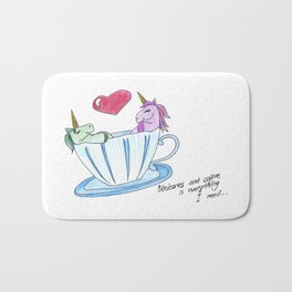 Unicorns And Coffee Is Everything I Need Bath Mat