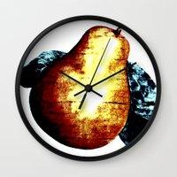 pear Wall Clocks featuring Pear by Soulmaytz