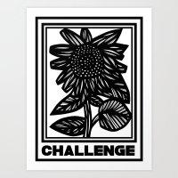 Tumminia Sunflower Black and White Art Print