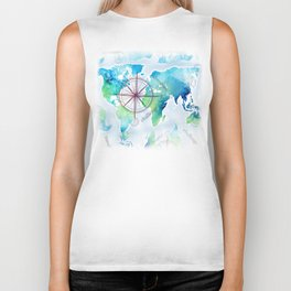 Watercolor map Biker Tank