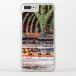 Rowing under the Hanover Street Bridge at Sunrise Clear iPhone Case