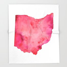 Red Ohio Throw Blanket