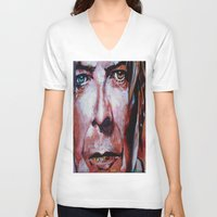 david bowie V-neck T-shirts featuring Bowie by Ray Stephenson