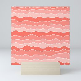 Four Shades of Living Coral with White Squiggly Lines Mini Art Print