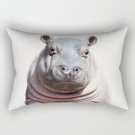 Baby Hippo, Baby Animals Art Print By Synplus Rectangular Pillow