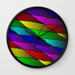 Slanting rainbow lines and rhombuses on red with intersection of glare. Wall Clock