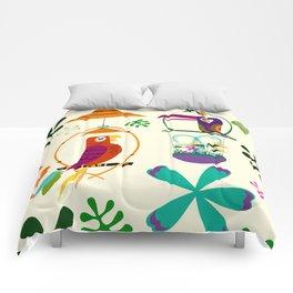 Vintage Modern Tiki Birds Comforters