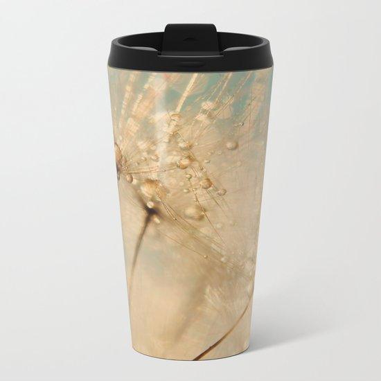 dandelion gold and mint Metal Travel Mug