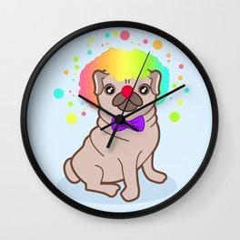 Pug dog in a clown costume Wall Clock