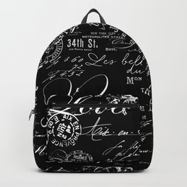 White Vintage Handwriting on Black Backpack