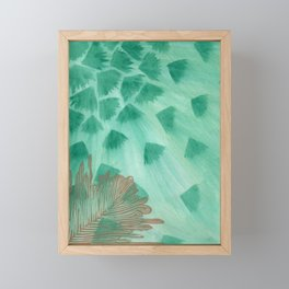 Teal Fans and Feather Framed Mini Art Print