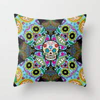 sugar skulls Throw Pillows featuring Sugar Skulls by Spooky Dooky