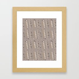 Taupe Grey Linen Brown Chip Abstract Framed Art Print