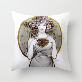 Lady of Galaxies Throw Pillow