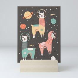 Astronaut Llamas in Space Mini Art Print