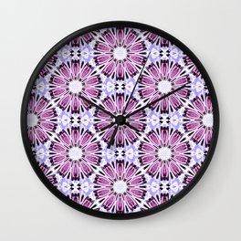 Rose Pink Light Blue Flower Background Pattern Wall Clock