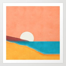 Shoreline Horizon Sun Art Print
